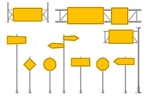 Yellow road signs blank street signage highway traffic attention safety boards yellow sign posts