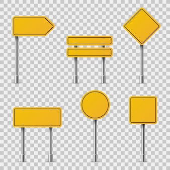 Yellow road signs. blank traffic road empty warning caution attention stop safety shape danger boards street guide