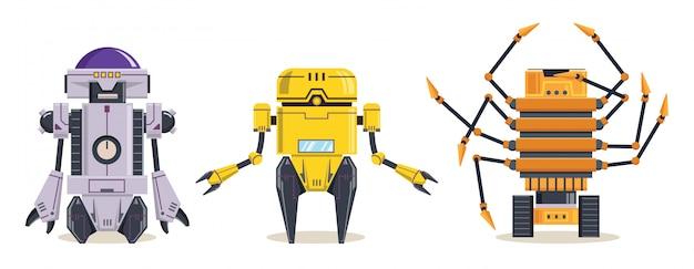 黄色いロボットのキャラクター。技術、未来