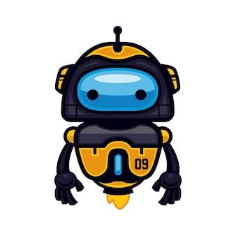 노란 로봇 마스코트 디자인