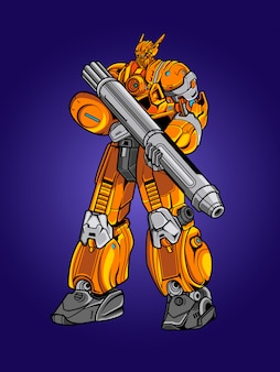 Yellow robot soldier illustration