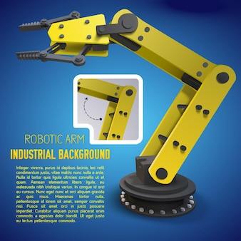 공장에서 새로운 기계를 광고하거나 발표하기위한 노란색 로봇 팔 포스터 또는 전단지
