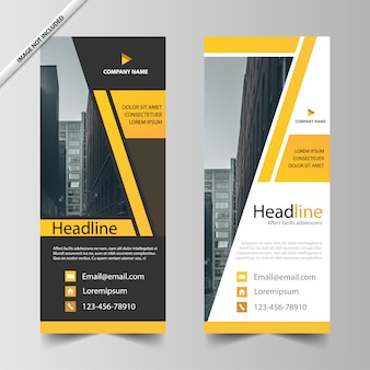 Yellow roll up banner template design