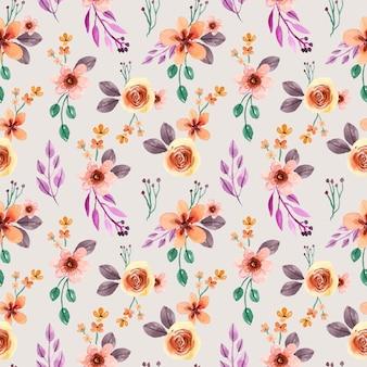 黄色いバラと紫の葉の水彩画のシームレスなパターン