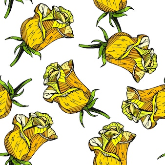 Yellow rose floral hand drawn pattern background