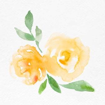 黄色いバラの花水彩ベクトル春の季節のグラフィック