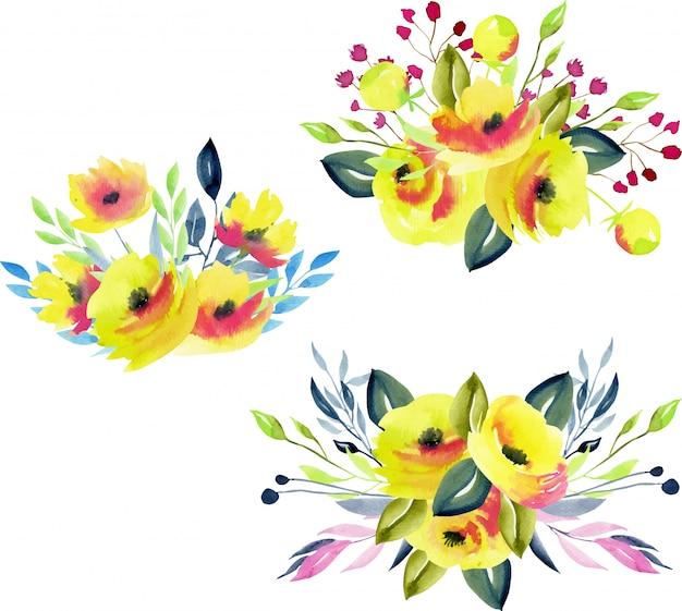 Коллекция желтых роз, веток и листьев
