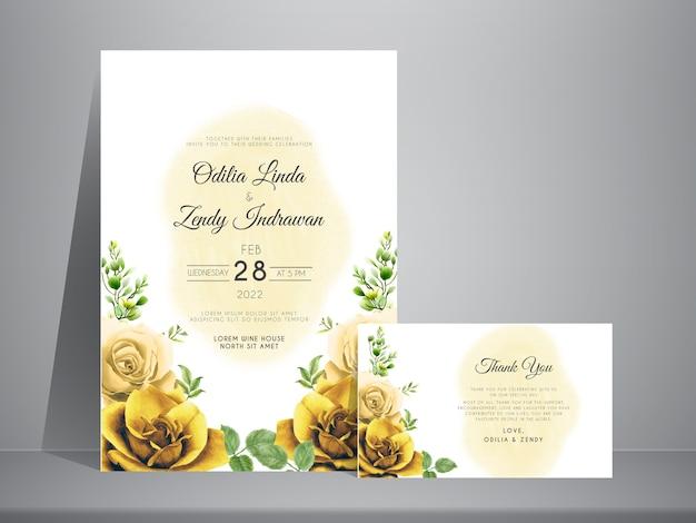 黄色いバラ手描きの結婚式の招待状のテンプレート