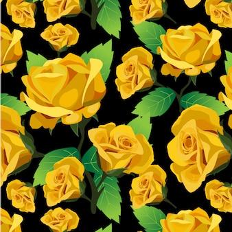 黄色のバラのパターンの背景
