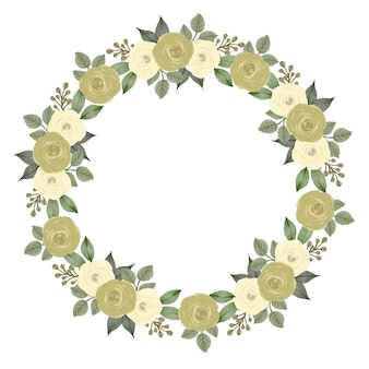 Yellow roses wreath for greeting and wedding card