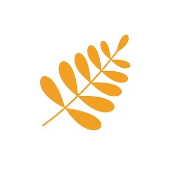 Yellow rowan leaf vector icon.
