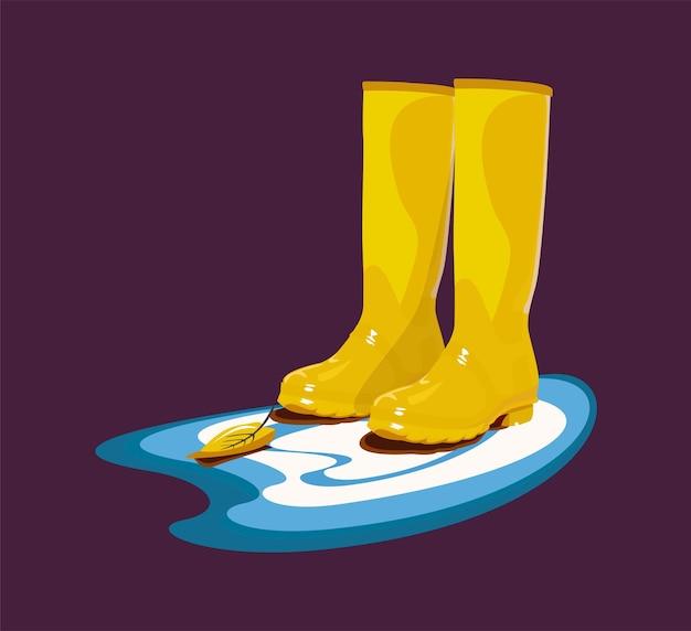Желтые резиновые сапоги стоят в луже с осенним листом векторная иллюстрация осенний символ