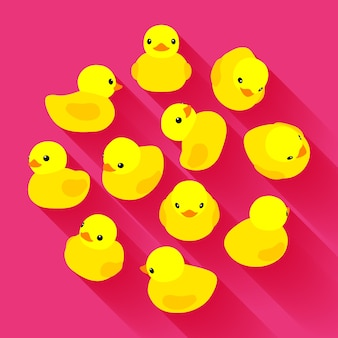 Yellow rubber duck against the pink background