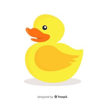 Желтая резиновая утка плоский дизайн