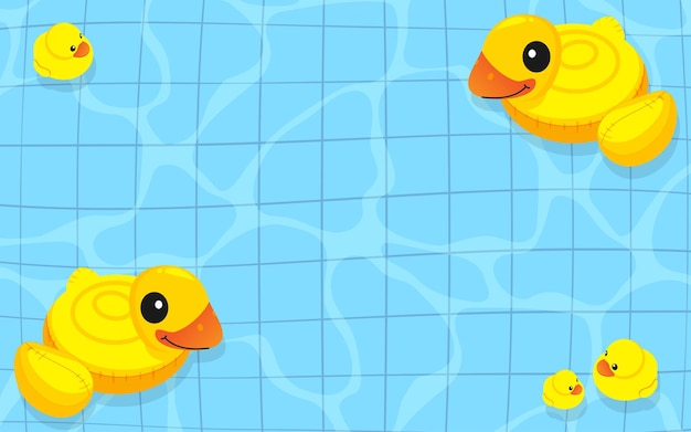 Yellow rubber duck inflatable family floating on the water