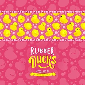 Yellow rubber ducks decorating card