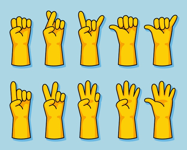 Yellow rubber glove cartoon hand gesture set
