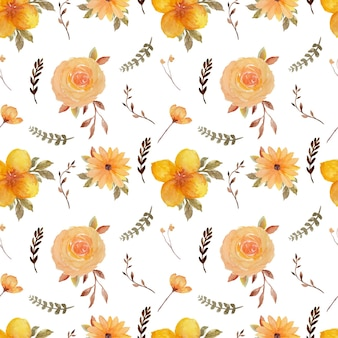 Yellow rustic floral seamless pattern