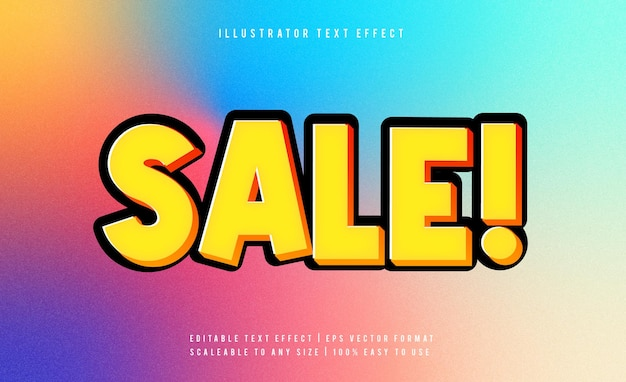 Yellow sale promotion text style font effect
