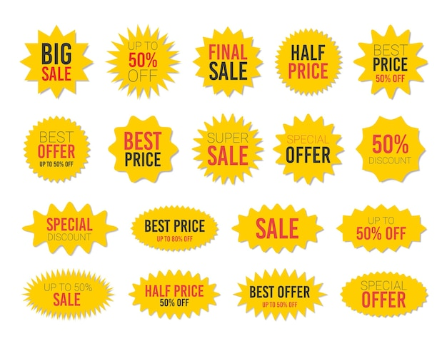 Yellow sale starburst sticker set - collection of stared round and oval labels and badges with best offer and discount
