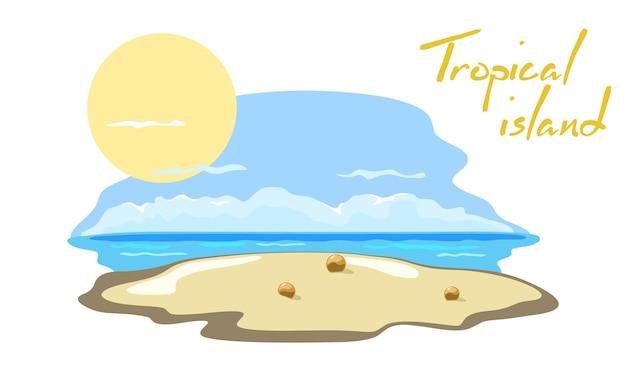 Желтый песок, голубое небо и яркое солнце над океаном, рай