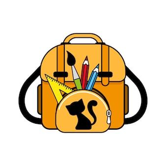 Yellow school bag with school supplies.