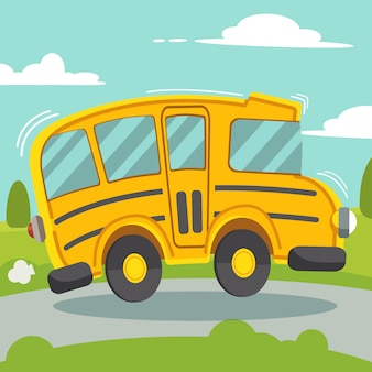 The yellow school bus be driving on the road. school bus on side view.