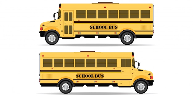 Yellow school bus icon isolated on white background.