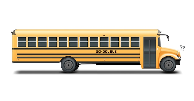 Yellow school bus, right side view. isolated on white background