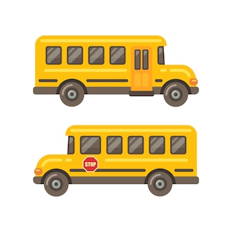 Yellow school bus side views