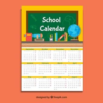Желтый школьный календарь, плоский стиль