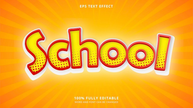 Yellow school text effect 100 editable eps cc