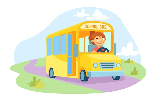 Yellow schoolbus with female driver character