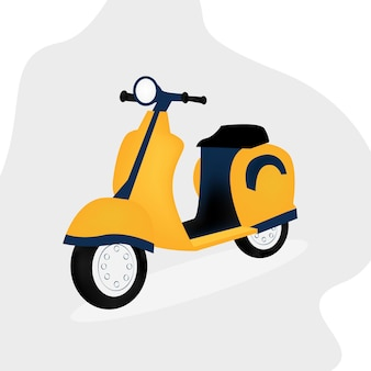 Желтый скутер. плоский стиль, изолированные на белом фоне. векторная иллюстрация.