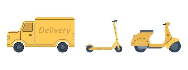 Желтый скутер фургон электросамокат транспорт для быстрой доставки онлайн-заказов