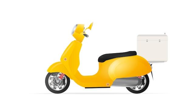 Желтый скутер с холодильником сзади. мопед для доставки и доставки еды. изолированный. вектор.