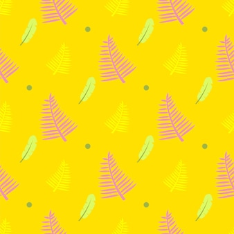 羽、ドット、シダの葉と黄色のシームレスパターン