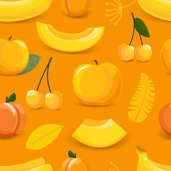 Yellow seamless pattern with fruits