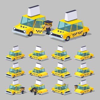 Yellow sedan 3d lowpoly taxi