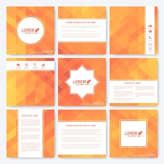 Yellow set of square template brochure