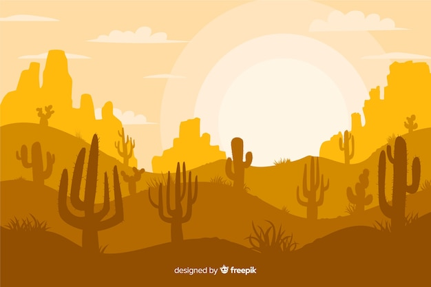 Yellow shades background with silhouettes of cacti