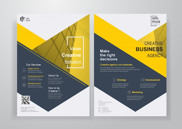 Yellow shape corporate brochure or flyer