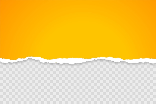 Yellow sheet of torn paper on transparent background