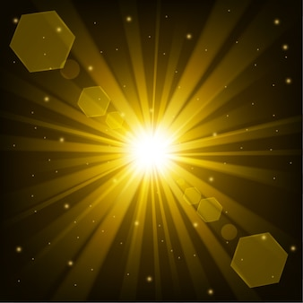 Yellow shine with lens flare in dark background