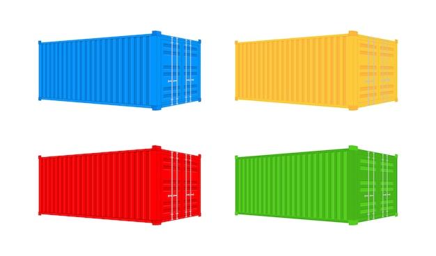 黄色の輸送貨物コンテナ20フィートと40フィート。ロジスティクスおよび輸送用。