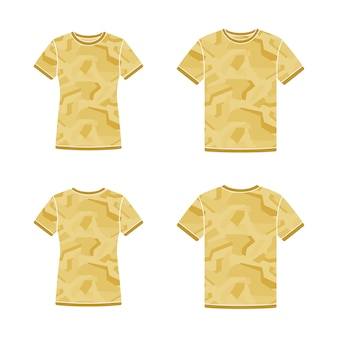 Yellow short sleeve t-shirts templates with the camouflage pattern
