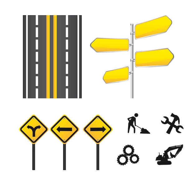 Yellow signs icons isolated over white background vector