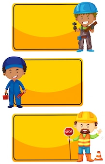 Yellow signs with construction workers