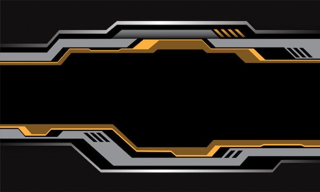 Yellow silver circuit cyber metallic black blank space futuristic style background.