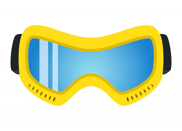 Yellow ski glasses in flat style. extreme accessory.